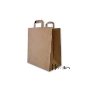 Bolsa de papel kraft con asas planas tamaño L
