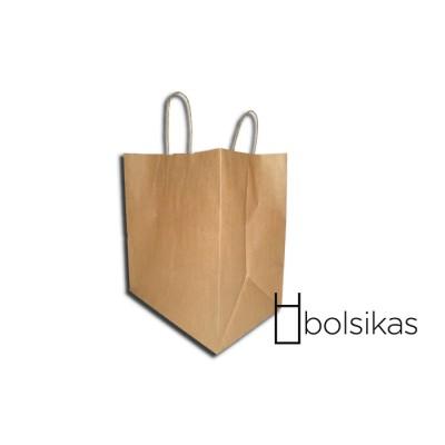 Bolsa de papel kraft con asa rizada para multiples usos, como por ejemplo sector de hostelería, cosmética, peluquería y demás