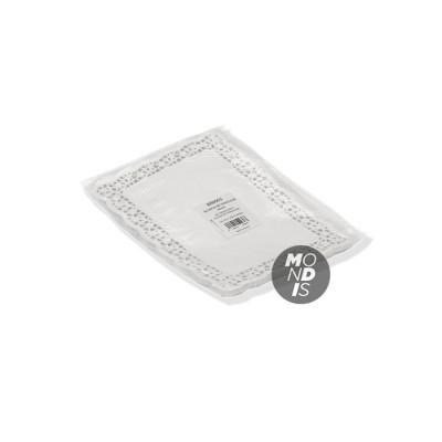 Blonda rectangular calado lito de 18 x 24 cm, indicada para emplatar y decorar