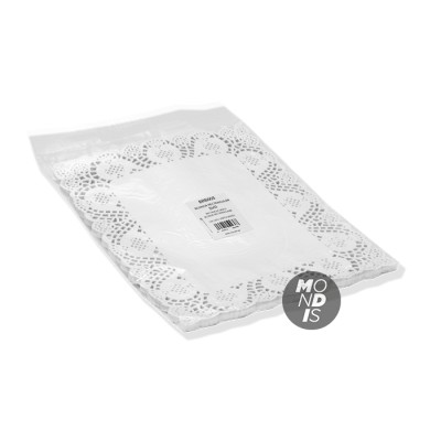 Blonda rectangular calado lito de 26 x 32 cm, indicada para emplatar y decorar