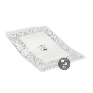 Blonda rectangular calado lito de 25 x 37 cm, indicada para emplatar y decorar