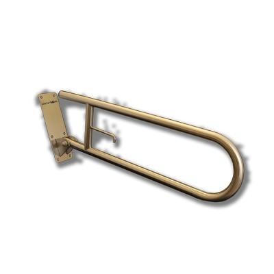 Barra de sujeción y ayuda abatible con giro vertical y sistema de freno progresivo de acero inoxidable satinado