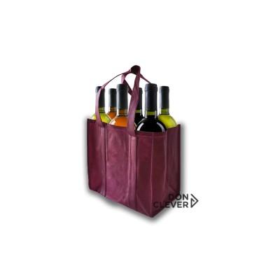Bolsa para 6 botellas de vino, color burdeos, calidad novotex (polipropileno)