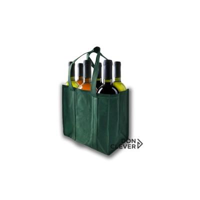 Bolsa para 6 botellas de vino, color verde, calidad novotex (polipropileno)