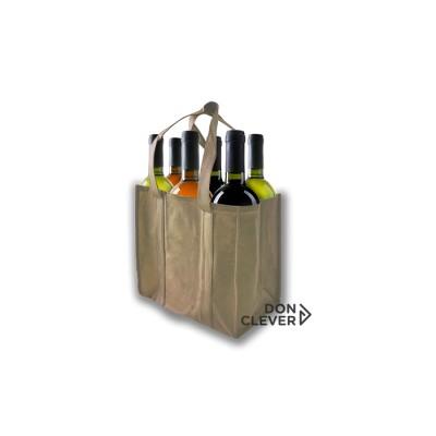Bolsa para 6 botellas de vino, color beige, calidad novotex (polipropileno)