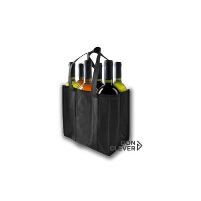 Bolsa para 6 botellas de vino, color negro, calidad novotex (polipropileno)