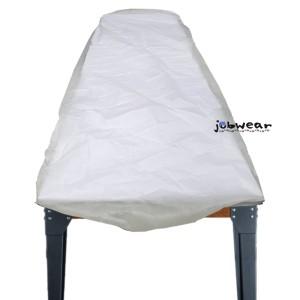 Sabana ajustable de un solo uso en polipropileno de color blanco de 14 gr/m2 con las medidas 210x80 cm
