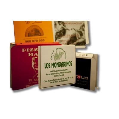 Caja para pizza de 26x26 personalizada, fabricada con cartón blanco y micro ondulado
