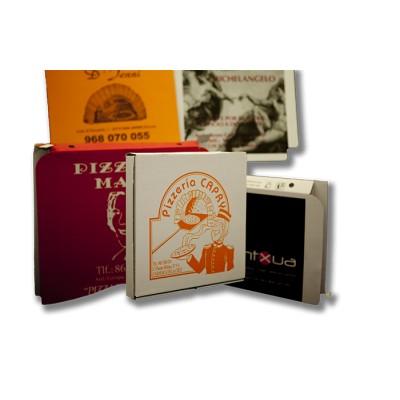 Caja para pizza de 40x40 personalizada, fabricada con cartón blanco y micro ondulado