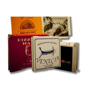 Caja para pizza de 50x50 personalizada, fabricada con cartón blanco y micro ondulado