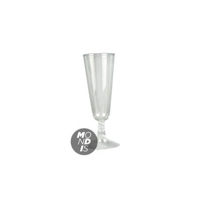 Copa de cava o champagne 100 cc de plástico transparente cristal rígido, desmontable en 2 piezas