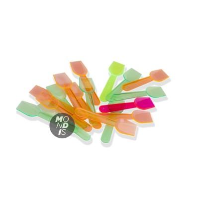Cucharillas de helado de plástico 75 mm en diversos colores fluorescentes
