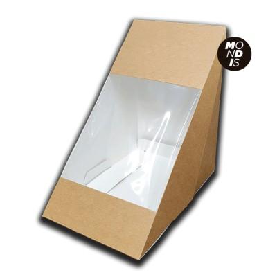 Caja kraft para sandwich doble con ventana transparente fabricada en celulosa, en formato triangular de fácil auto montaje