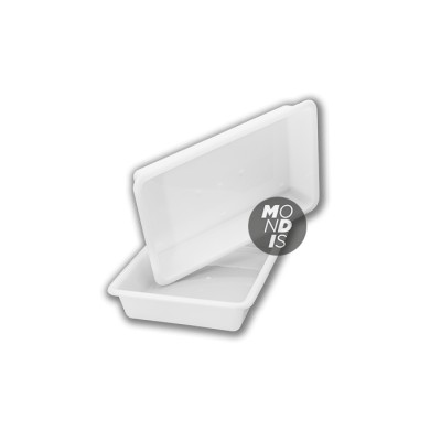 Cubeta rectangular de 5 litros color blanco apta para uso alimentario de fácil limpieza