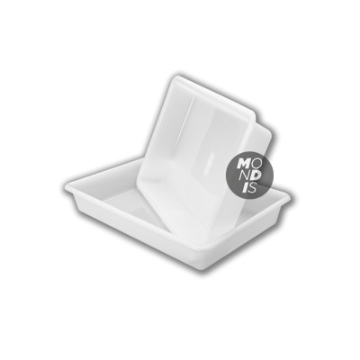 Cubeta rectangular de 8 litros color blanco apta para uso alimentario de fácil limpieza