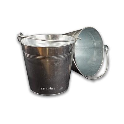 Cubo metálico galvanizado con asa de acero, especial hostelería, para botellines fríos con hielo