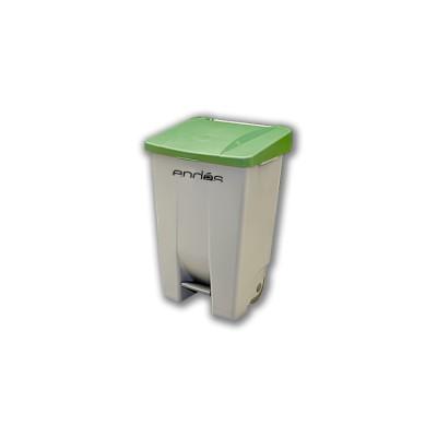 Cubo de basura 80 litros con ruedas y pedal de fácil manejo ideal para jardinerías, comunidades, hostelería, industria, etc