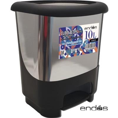 Cubo de basura de 10 litros con pedal, con acabado IML metalizado