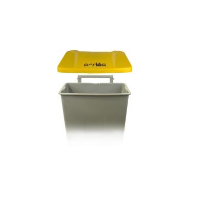 Tapa amarilla para cubo de basura con ruedas y pedal de 120 litros ref