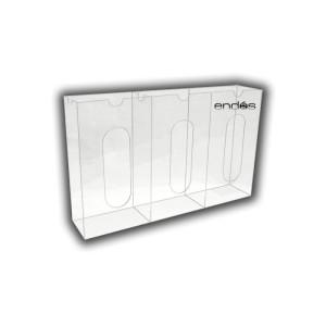 Dispensador para la pared con capacidad para 3 estuches de guantes desechables