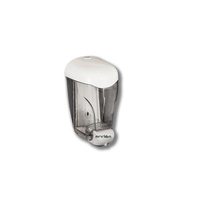 Dispensador de jabón blanco modelo Teyde, fabricado en policarbonato, con sistema antigoteo
