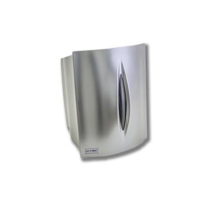 """Dispensador para rollo seca-manos o mecha fabricado en abs de color """"acero líquido"""" con llave y visor de nivel del papel"""