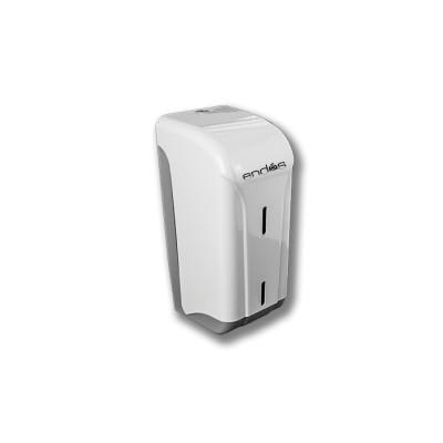Dispensador para rollo seca-manos mini mecha modelo Box de color blanco, con llave de cierre