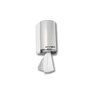 Dispensador para rollo seca-manos mini mecha modelo Ecobix de color transparente-fumé, con llave de cierre