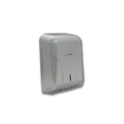 Dispensador para toallas zigzag modelo Teyde fabricado en policarbonato, con tapa y base en acero líquido