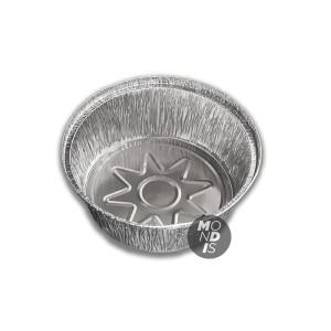 Envase de 1.4 lt de aluminio redondo para pollo, con borde alzado y rizado.