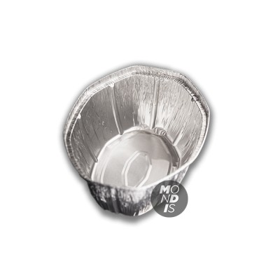 Envase de 2.6 lt de aluminio ovalado con borde alzado y rizado.