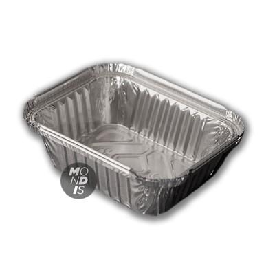 """Envase de 650 ml de aluminio rectangular 2 raciones """"lasaña"""", con borde alzado y rizado"""