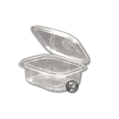 Envase de 780 ml transparente de ops cn tapa incorporada, de gran transparencia con cierre hermético
