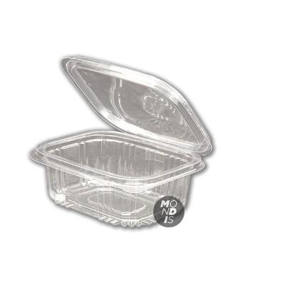 Envase de 1 litro transparente de ops con tapa incorporada, de gran transparencia con cierre hermético