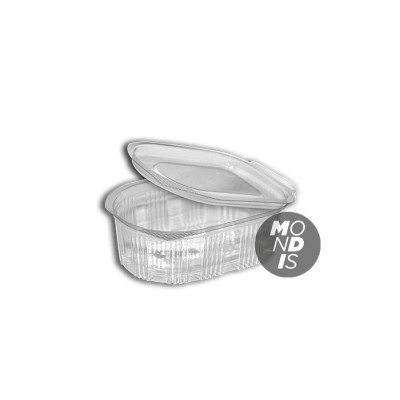 Clear 80 cc PET hinged lid sauce container