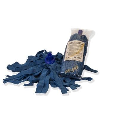 Fregona 100% microfibra de tiras en color azul