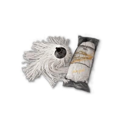 Fregona de 200 gr, blanca de algodón de gran duración de 6 cabos