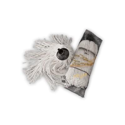Fregona de 225 gr, blanca de algodón de gran duración de 6 cabos