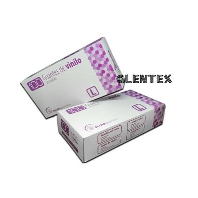 Guante de vinilo transparente, talla L, con reborde especialmente indicados para personas hipersensibles a la proteína del látex