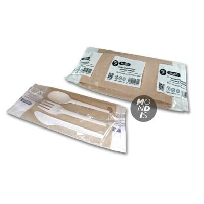 Compostable pack con cubiertos: tenedor de PLA + cuchara + cuchillo de CPLA + servilleta canguro natural 40x40 de 2 capas