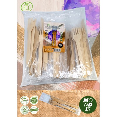 Kit con cubiertos: tenedor y cuchillo fabricados en madera de pino de 16 y 16,5 cm respectivamente