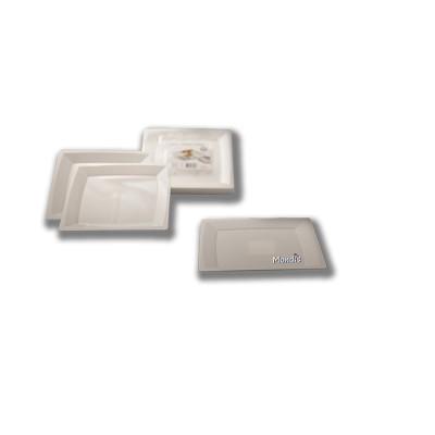 Plato cuadrado de plástico de 21 cms color blanco