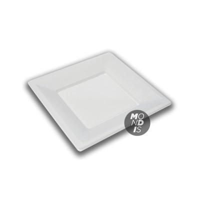 Plato cuadrado de plástico de 17 cms color blanco