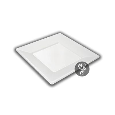 Plato cuadrado de plástico de 23 cms color blanco