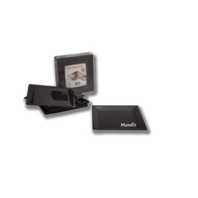 Plato cuadrado de plástico de 17 cms color negro