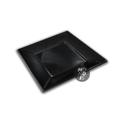Plato cuadrado de plástico de 23 cms color negro