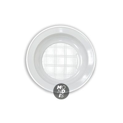 Plato hondo de 20,5 cm plástico blanco