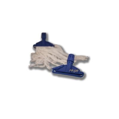 Pinza de sujeción para fregona industrial, fabricada en plástico resistente y de fácil instalación