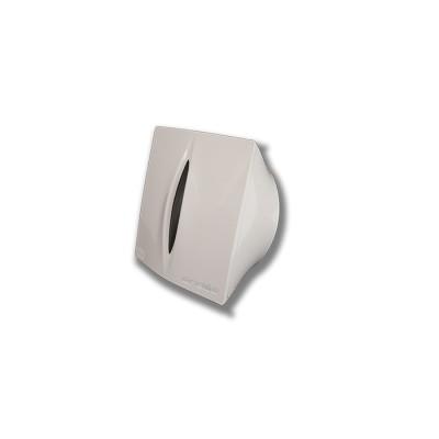 Porta-rollos para papel higiénico fabricado en abs de color blanco con llave y visor del nivel del rollo