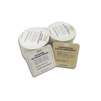 Posavasos Cuadrados de 93 mm x93 mm con cantos redondeados, fabricados con cartón especial absorbente